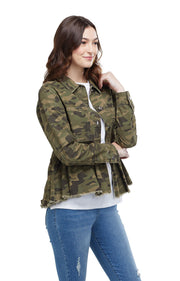 Mud Pie Banks Denim Jacket Green Camo