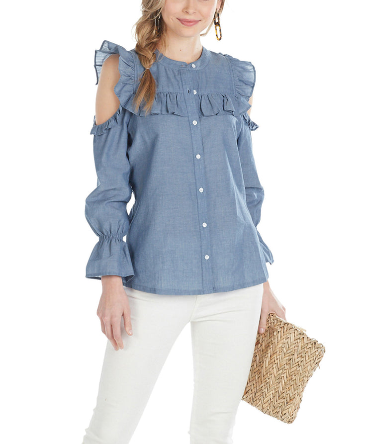 Mud Pie Clarissa Buttondown Chambray Top Blue