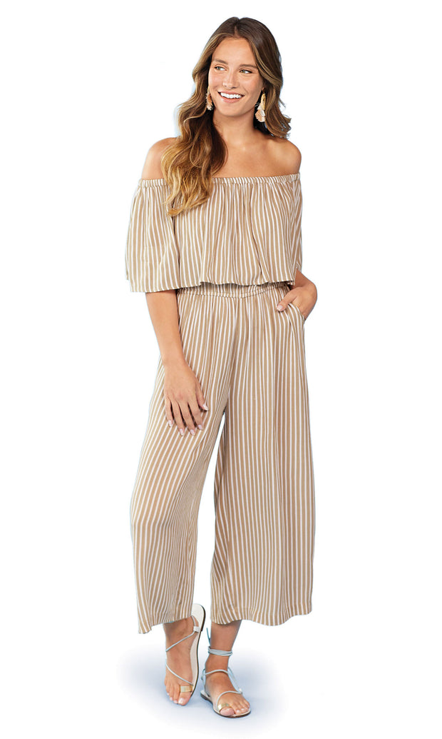 Mud Pie Olsen Stripe Jumpsuit Taupe