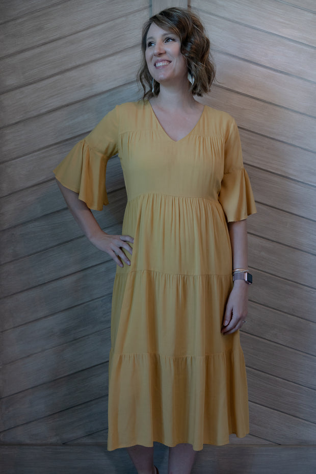 L Love V Neck Ruffled Sleeve Dress Mustard Yellow