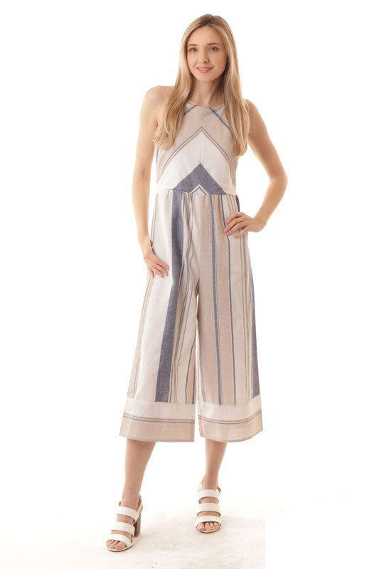 iJoah Sleeveless Stripe Wide Leg Jumpsuit Taupe