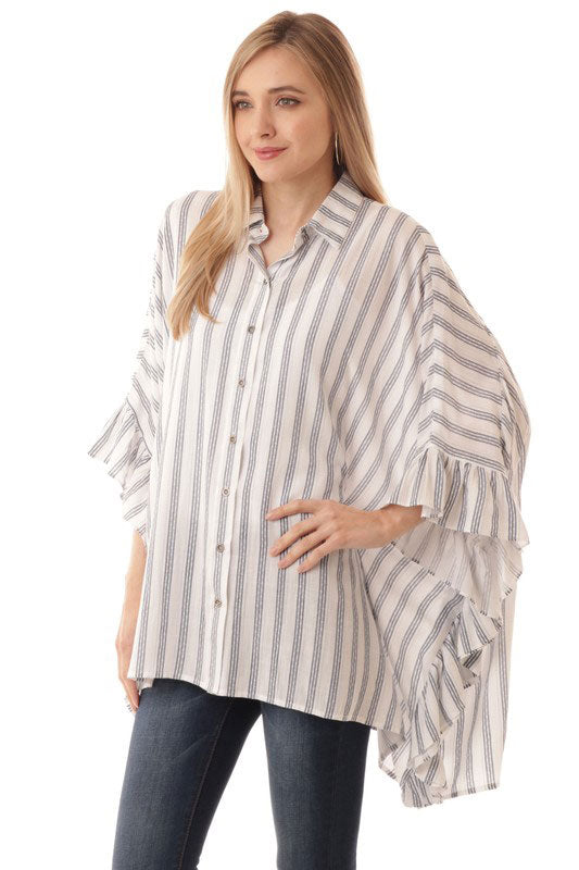 iJoah Striped Ruffle Sleeved Box Top Ivory Blue
