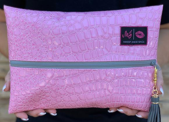 Makeup Junkie Blush Gator Zipper Makeup Bag Pink Gray
