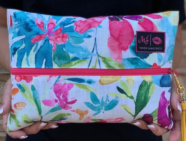 Makeup Junkie Bright Watercolor Floral Zipper Makeup Bag