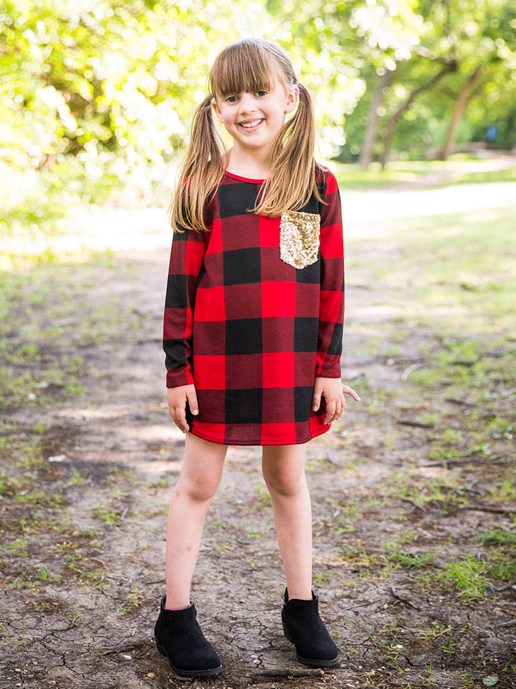 Grace & Emma Girl's We're in Plaid Company Dress with Gold Sequin Pocket