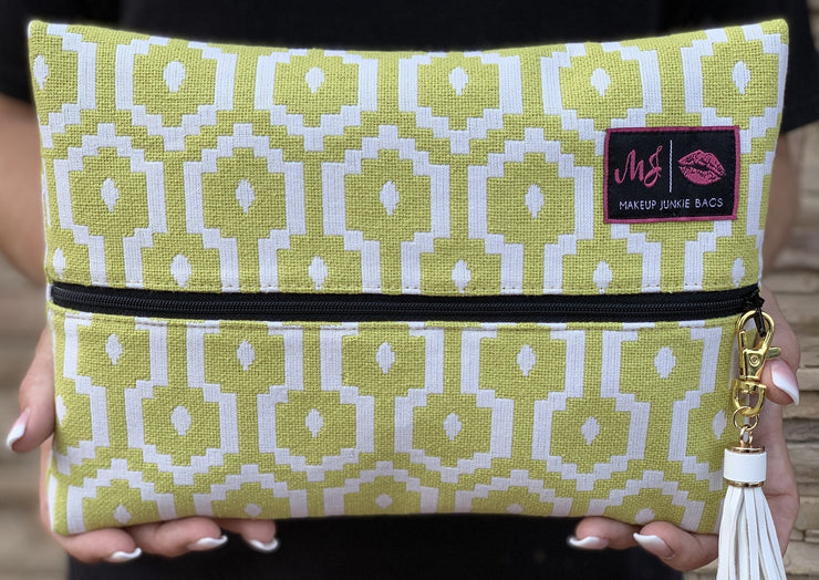 Makeup Junkie Neon Zipper Makeup Bag Green White