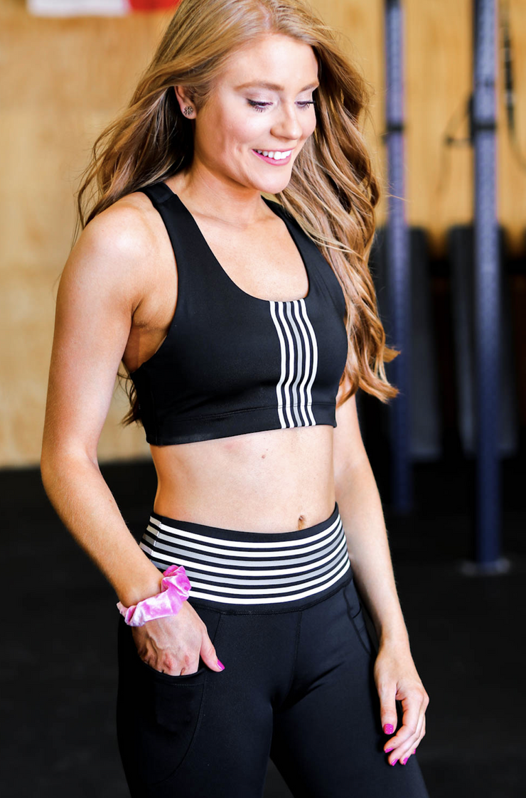 Jadelynn Brooke Gray Stripe Sports Bra Black