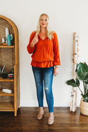 Democracy Long Blouson Sleeve Wrap Front Peplum Top Coral Cave