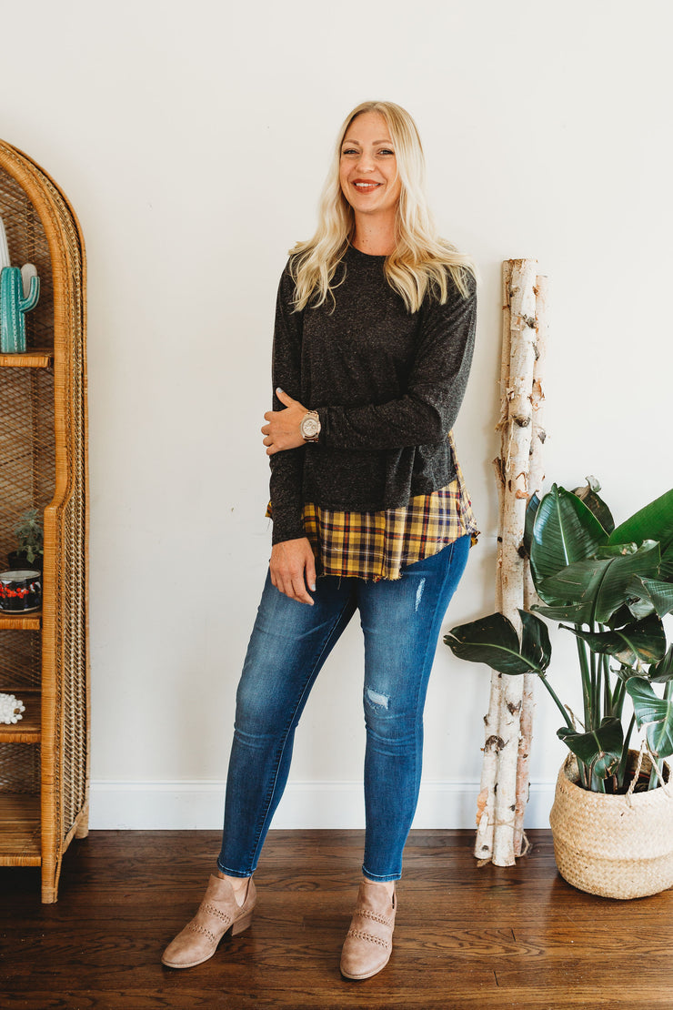 Grace & Emma Brooklynn's Charcoal Tunic with Yellow Plaid & Raw Hem