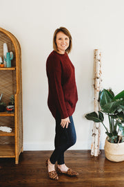 Zenana Long Sleeve Round Neck Waffle Sweater Dark Burgundy