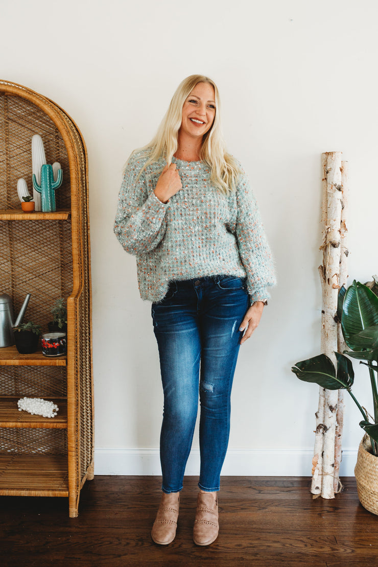 She + Sky Long Sleeve Multi Colored Sweater Sage