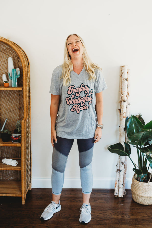 Fearfully & Wonderfully Made Retro V Neck Tee Heather Gray