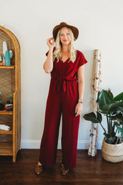 She + Sky Short Sleeve Jumpsuit with Front Tie Wine