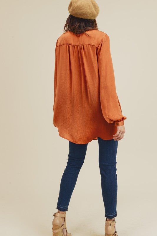 Doe & Rae Long Sleeve Silk Feel Tunic Honey Brown