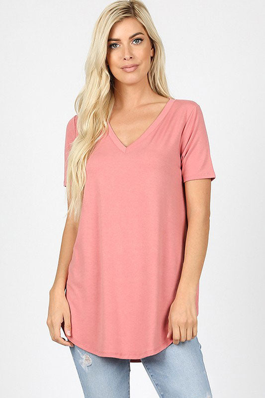 Zenana Outfitters Women's Relaxed Fit V Neck Round Hem Top Dusty Rose