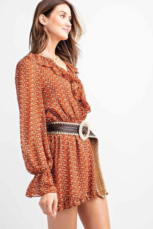 Easel Long Sleeve Printed Chiffon Ruffle Short Romper Rust