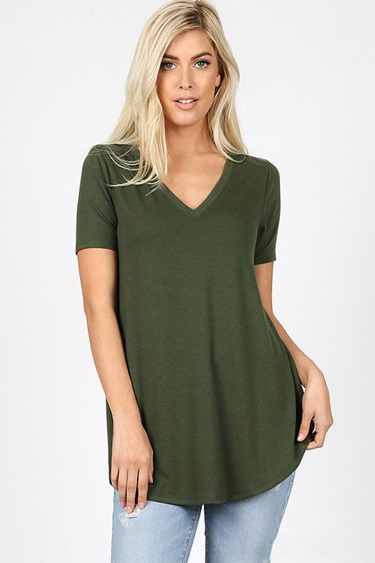 Zenana Outfitters Women's Relaxed Fit V Neck Round Hem Top Army Green