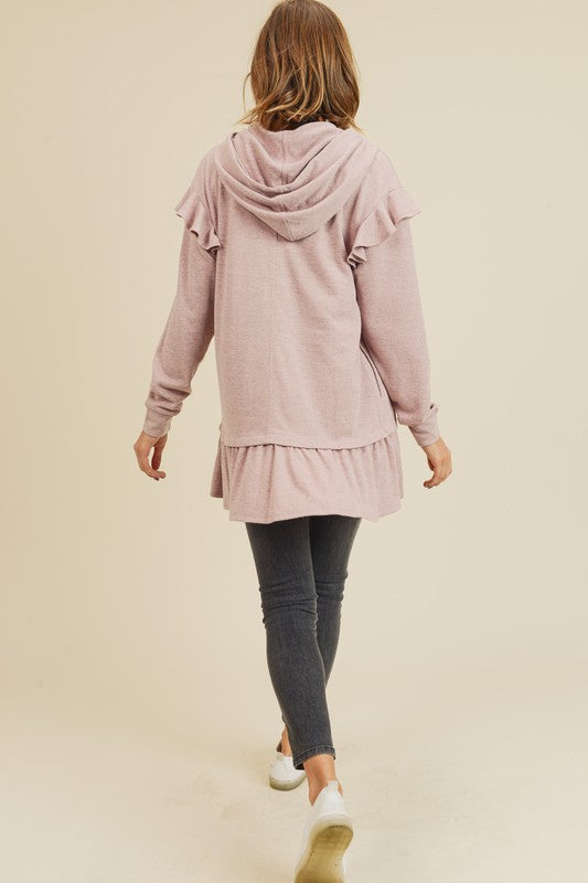 Doe & Rae Velvet String Hoodie with Ruffle Bottom Pink Gray