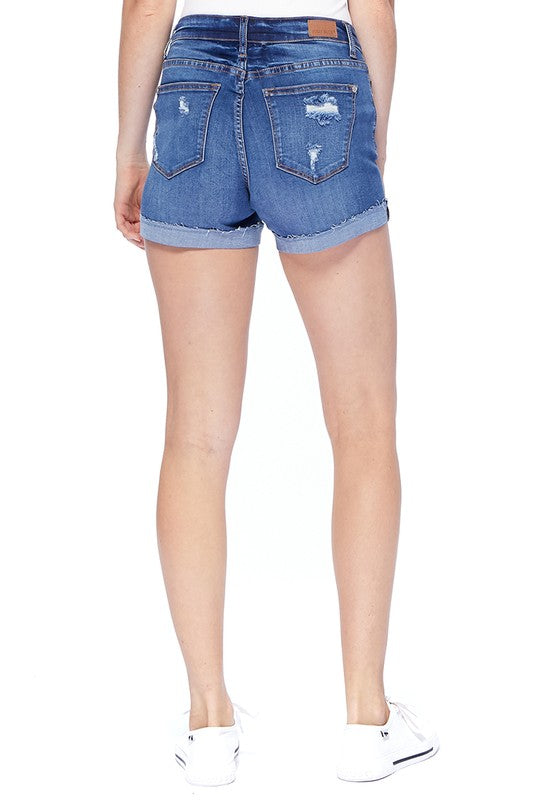 Judy Blue Mid Thigh Destroyed Shorts Light Blue