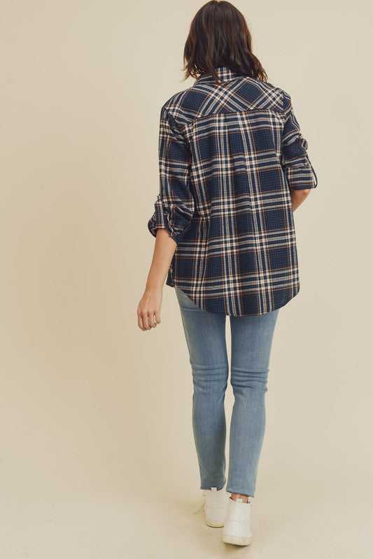 Doe & Rae Plaid Button Down Shirt with Rolled Sleeves Teal Rust