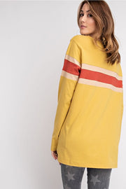 Easel Long Sleeve Color Blocked Boxy Top Mustard