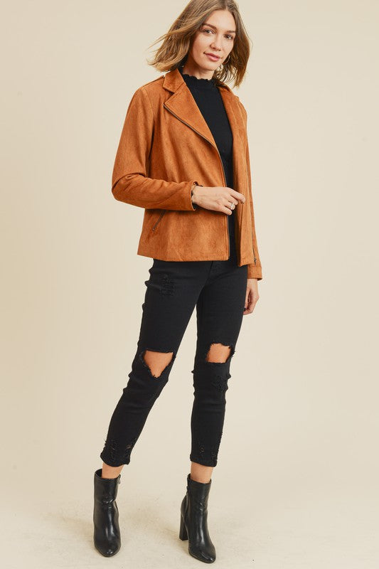 Doe & Rae Suede Moto Full Zip Jacket Tan