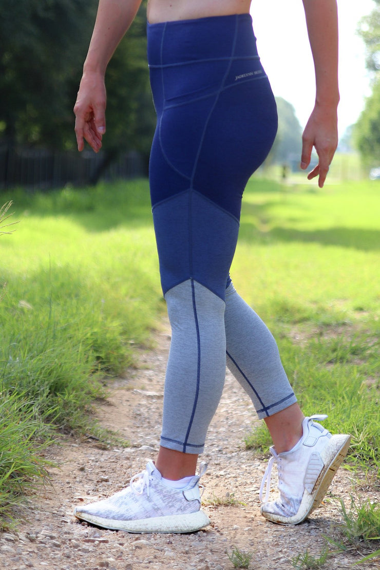 JLB 3 Tier Colorblock Crop Leggings Navy Blue Gray
