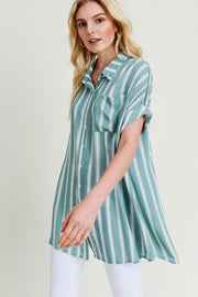 Jodifl Plus Size Striped Button Up Short Sleeve Top Sage Green