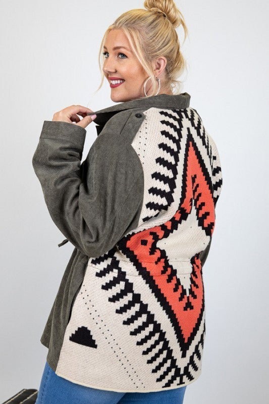 Doe & Rae 3 Color Coloration Long Sleeve Cardigan Sweater