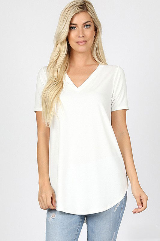 Zenana Outfitters Women's Relaxed Fit V Neck Round Hem Top Ivory