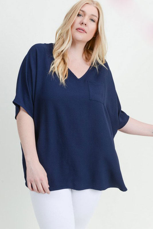 Jodifl Plus Size Solid Boxy Pocket Top Navy Blue