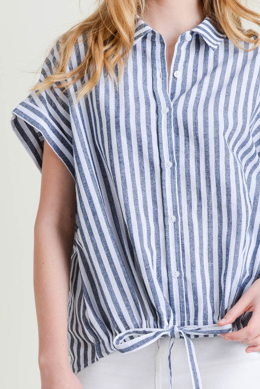 Cotton Bleu Willow Striped Button Down Top Blue Stripe