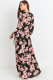 Long Sleeve Floral Surplice Waist Tie Maxi Dress Dark Olive Pink