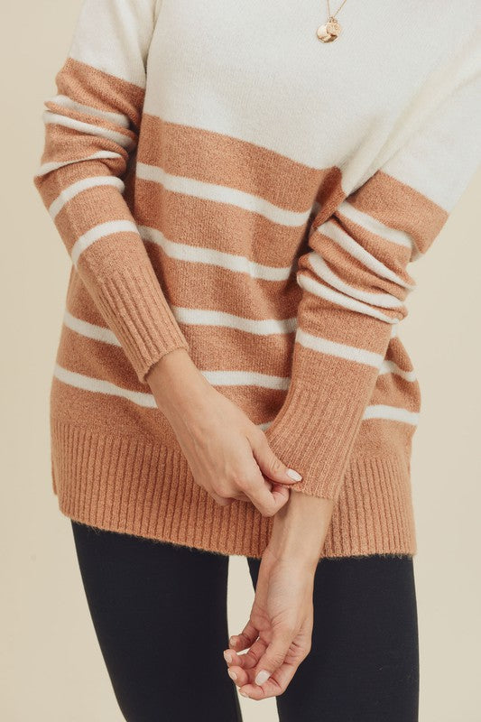 Doe & Rae Striped Color Block Sweater Rust Ivory