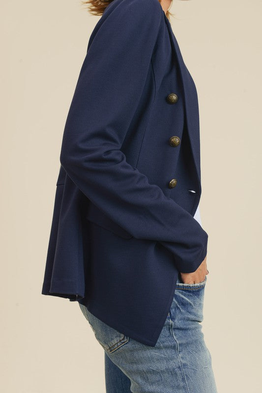 Doe & Rae Button Detail Jacket with Waistline Navy