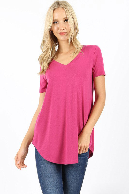 Zenana Outfitters Women's Relaxed Fit V Neck Round Hem Top Magenta
