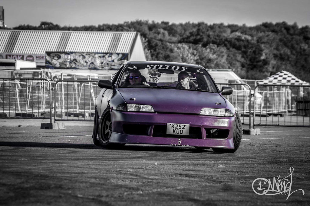 Lee Richmond R32 Skyline with BN Sports kit drifting at Santa Pod photo by One Mind