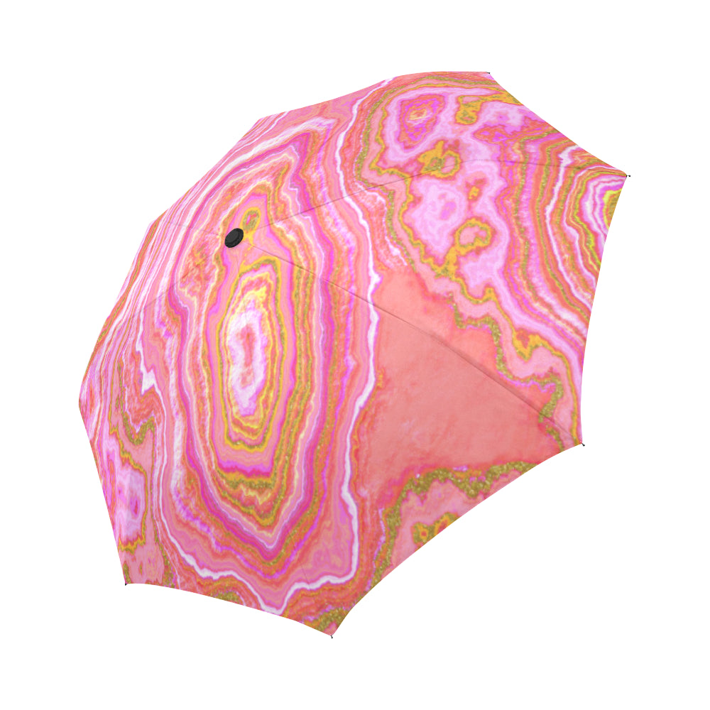 Hot Pink & Gold Geode Auto-Foldable Umbrella