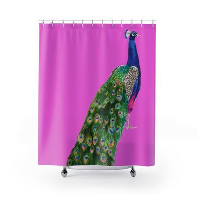Peacock Fuchsia Pink Shower Curtain
