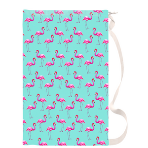 Aqua Flamingos Drawstring Laundry Bag
