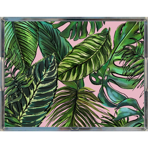 Palm Leaf Blush Acrylic Tray