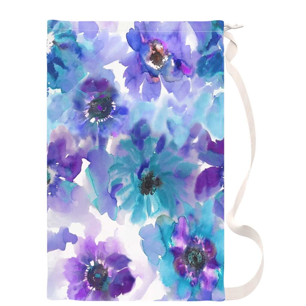 Blue & Purple Watercolor Anemones Drawstring Laundry