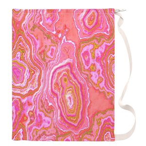 Hot Pink & Gold Geode Drawstring Laundry Bag