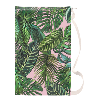 Palm Leaf Blush Drawstring Laundry Bag
