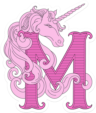Unicorn Monogram Bedroom Wall Decal
