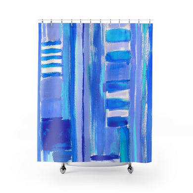 Graffiti Smears Blue Shower Curtain