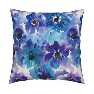 Blue & Purple Watercolor Anemones LUXE Knife Edge Toss Pillow
