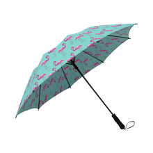 Aqua Flamingos Semi-Auto Fold Umbrella