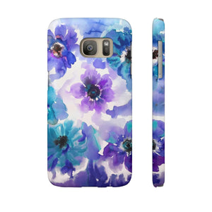 Blue & Purple Watercolor Anemones Case Mate Slim Phone Case