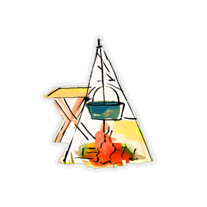 WARMING WATER BY THE CAMPFIRE CAMP CAR STICKER